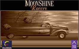 Title screen of Moonshine Racers on the Atari ST.