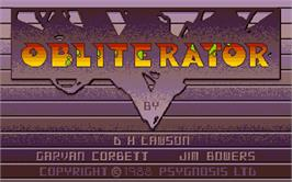 Title screen of Obliterator on the Atari ST.