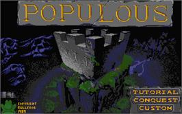 Title screen of Populous: The Promised Lands on the Atari ST.