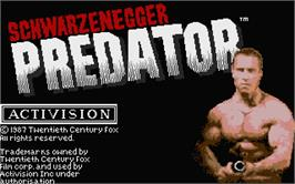 Title screen of Predator on the Atari ST.