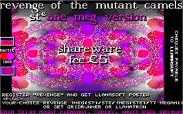 Title screen of Return of the Mutant Camels on the Atari ST.