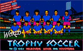 Title screen of Rick Davis' World Trophy Soccer on the Atari ST.
