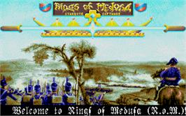 Title screen of Rings of Medusa on the Atari ST.