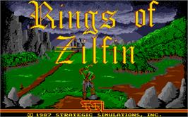Title screen of Rings of Zilfin on the Atari ST.