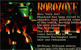 Title screen of Robozone on the Atari ST.