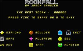Title screen of Rockfall Special Edition on the Atari ST.