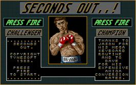 Title screen of Seconds Out on the Atari ST.