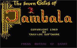 Title screen of Seven Gates of Jambala on the Atari ST.