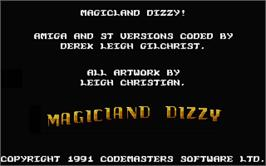Title screen of Spellbound Dizzy on the Atari ST.