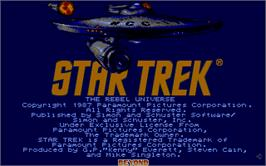 Title screen of Star Trek The Rebel Universe on the Atari ST.