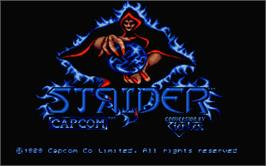 Title screen of Strider 2 on the Atari ST.