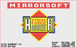 Title screen of Strike Force Harrier on the Atari ST.