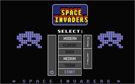 Title screen of Super Space Invaders on the Atari ST.