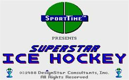 Title screen of Superstar Ice Hockey on the Atari ST.