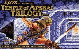 Title screen of Temple of Apshai Trilogy on the Atari ST.