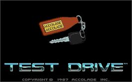 Title screen of Test Drive on the Atari ST.
