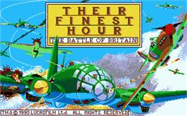 Title screen of Their Finest Hour: The Battle of Britain on the Atari ST.