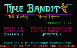 Title screen of Time Bandit on the Atari ST.