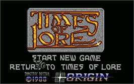 Title screen of Times of Lore on the Atari ST.