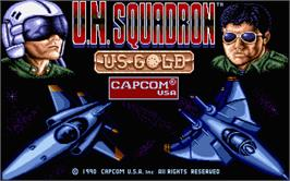 Title screen of U.N. Squadron on the Atari ST.