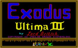 Title screen of Ultima III: Exodus on the Atari ST.