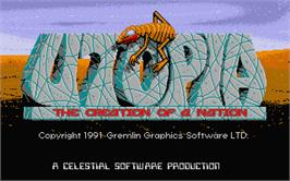 Title screen of Utopia: The Creation of a Nation on the Atari ST.