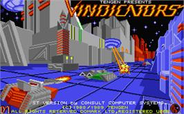 Title screen of Vindicators on the Atari ST.
