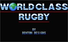 Title screen of World Class Rugby on the Atari ST.
