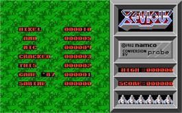 Title screen of Xevious on the Atari ST.