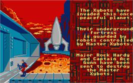 Title screen of Xybots on the Atari ST.