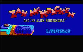 Title screen of Zak McKracken and the Alien Mindbenders on the Atari ST.