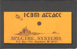 Cartridge artwork for I.C.B.M. Attack on the Bally Astrocade.