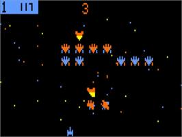 In game image of Galaxian on the Bally Astrocade.
