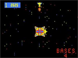 In game image of Space Fortress on the Bally Astrocade.