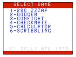 Title screen of 280zzap on the Bally Astrocade.