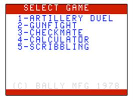 Title screen of Artillery Duel on the Bally Astrocade.