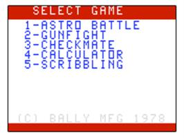 Title screen of Astro Battle on the Bally Astrocade.