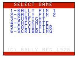 Title screen of Bally Pin on the Bally Astrocade.