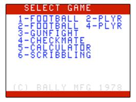 Title screen of Football on the Bally Astrocade.
