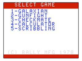 Title screen of Galaxian on the Bally Astrocade.