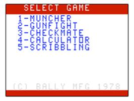Title screen of Muncher on the Bally Astrocade.