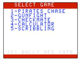 Title screen of Pirate's Chase on the Bally Astrocade.