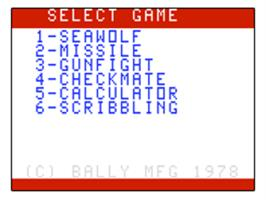 Title screen of Seawolf on the Bally Astrocade.