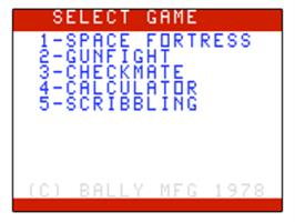 Title screen of Space Fortress on the Bally Astrocade.