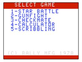 Title screen of Star Battle on the Bally Astrocade.