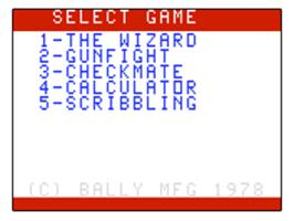 Title screen of Wizard of Wor on the Bally Astrocade.