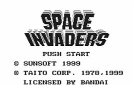 Title screen of Space Invaders on the Bandai WonderSwan.