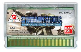 Cartridge artwork for SD Gundam: Operation U.C. on the Bandai WonderSwan Color.