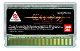 Cartridge artwork for Wizardry: Proving Grounds of the Mad Overlord on the Bandai WonderSwan Color.