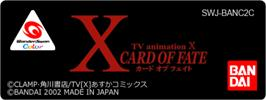 Top of cartridge artwork for X: Card of Fate on the Bandai WonderSwan Color.
